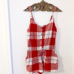 OLD NAVY • Red & White Checkered Cotton Romper (S)
